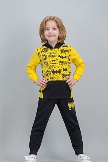 Batman Batman Lisanslı Grimelanj Erkek Çocuk Kapüşonlu Kanguru Cepli Eşofman Takımı Sarı